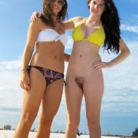 2 Girlfriends on Beach Bottomless Youngster Pussy