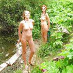 2 Mature Nudist women enjoying the outdoors