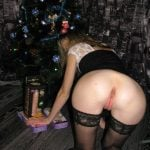 Slim Girlfriend Showing Pussy from Behind Xmas Gifts