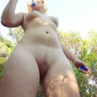 Thirsty Good Nude Body Blonde in Nature