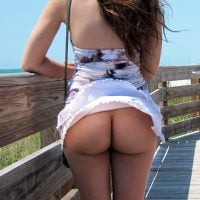 Wind Blowing Dress Reveals Round Naked Ass Candid