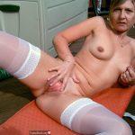 Blonde Milf Spreading Cunt White Stockings