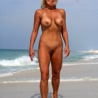 Blonde Mother Nude on Beach