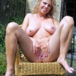 Blonde Woman Naked Spreading Tight Vagina Outdoors