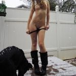 Curly Teen Undressing Snowing Outside