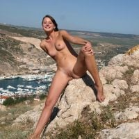 Nudist Pretty Girl in Vacation Great Landscape
