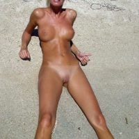Taking a Shot of Nudist Hot Blonde Babe