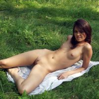 Teen Nudist Babe Posing on Grass