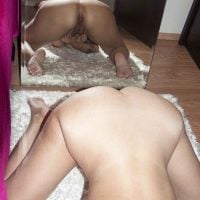 Touching Pussy Naked Woman Ass in the Mirror