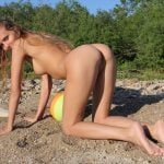Blonde Teen Beauty on all fours Naked Outdoors