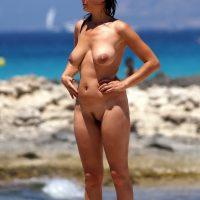 Busty Saggy Cool Nude Female on Beach