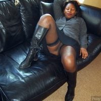 Chubby Dressed Ebony Woman Upskirt on Couch