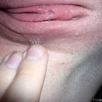 Juicy Twat Shaved Wet Labia Up Close