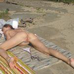 Thin Nudist Woman Legs Open Ass on Beach