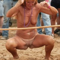 Blonde Granny Nude Games on Public Beach