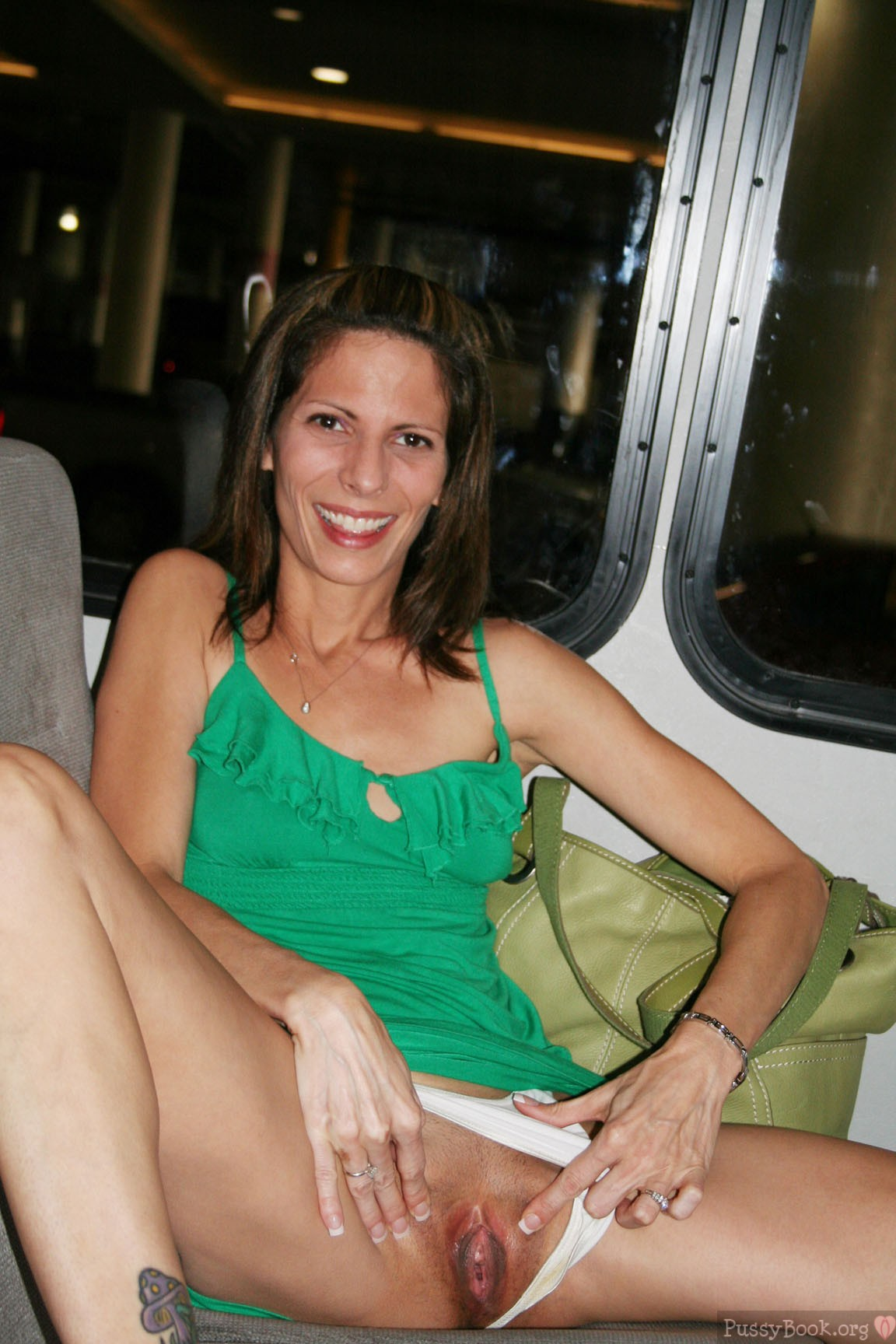 Nasty Slut Flashing Open Vagina In Public Transportation -7277