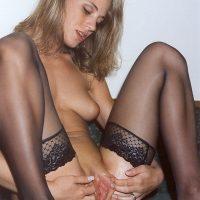 Beauty with Stockings Spreading Wet Vagina