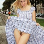 Blonde European Babe Flashing Trimmed Pussy on Streets