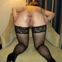 Erotic Hot Wife Bent Over Spreading Rear End