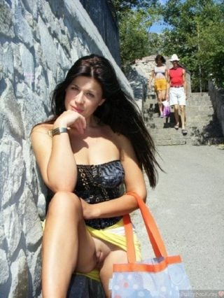 Flashing exhibitionist Casual Nudity