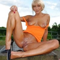 Hot Blonde Milf Undressing Creamy Pussy Outdoors