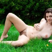 Nude Girl with Hairy Twat Relaxing on the Grass