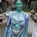 Nudist Girl Fully Painted Body