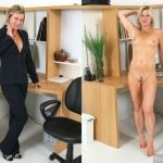 Blonde Business Lady Dressed Undressed