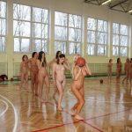 Group of Nude Teens College Sport Indoors