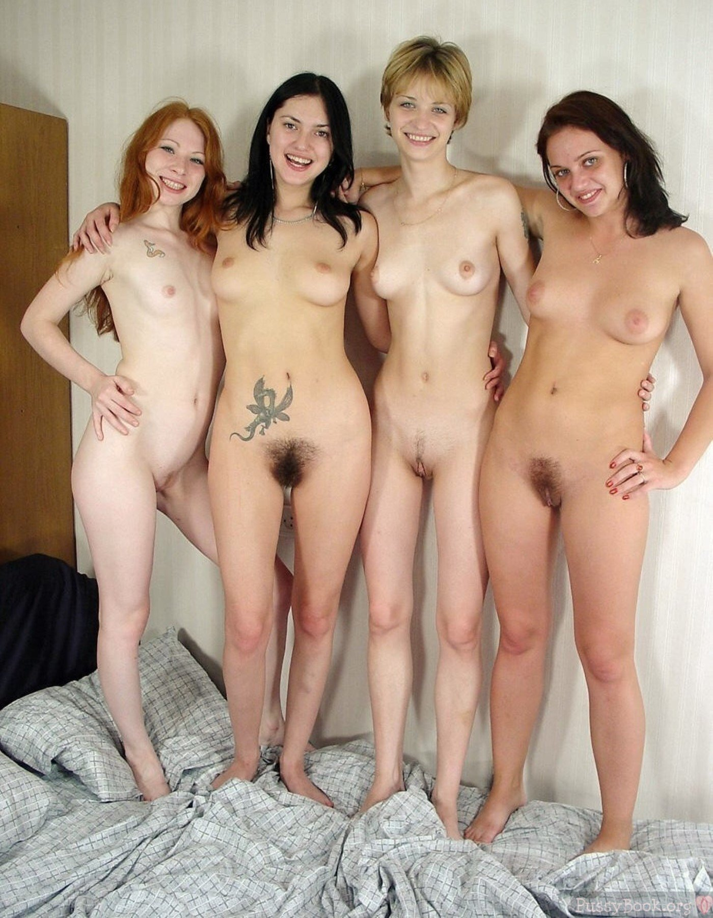 Group-Of-Four-Naked-Girlfriends-Posing  Pussy Pictures -5485