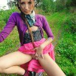 Sexy Babe Flashing Pussy on Bike