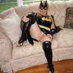 Batman Lady Exposing Pussy for Halloween