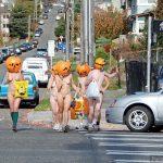 Nudist People on Public Streets Halloween Pumpkins