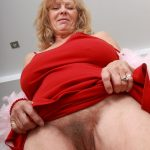 Old Blonde Woman Flashing Unshaven Pussy