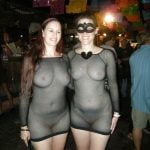Sexy Halloween Two Women See Through Dresses in Club