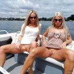 Beautiful Russian Blonde Sluts Flashing Pussies on Boat