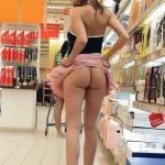 Hot Babe Flashing Beautiful Butt in Store
