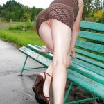Hot Woman Bends Over Beautiful Pussy Upskirt in Park