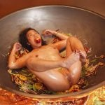 Nude Asian Woman being Cooked in Huge Pan