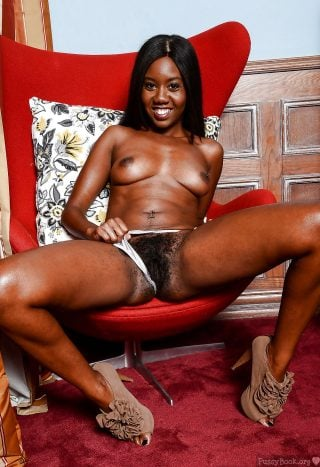 Black Young Woman Flashing Bushy Pussy