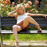 Blonde Woman Upskirt Pussy on the Bench