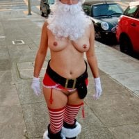 Exhibitionist Santa Woman Naked on Streets