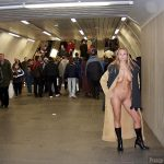 Exhibitionist Woman Flashing Naked Body at the Subway