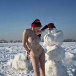 Gorgeous Tits Naked Girl with Snowman