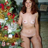 Hairy Woman Naked with Xmas Tree