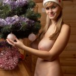 Naked Big Tits Blonde Girlfriend with Xmas Tree
