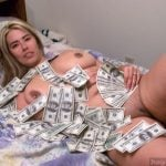 Naked Fat Bitch Covered in Real Money