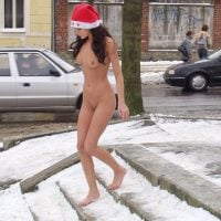 Naked Girl on Icy Public Streets