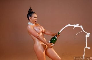 Naked Woman Opening Champagne