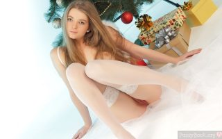 Nice Sexy Girl Pussy Peek with Christmas Presents